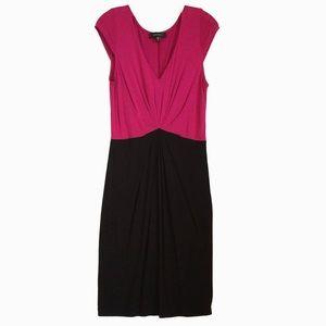 NWT Karen Kane color block knit dress, pink/black